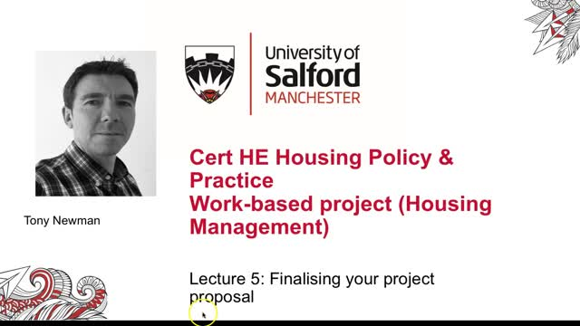 Lecture 5: Finalising your work based project