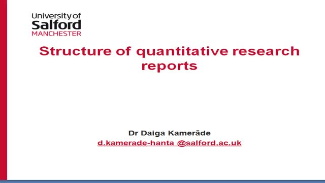 Sections of quantitative research reports