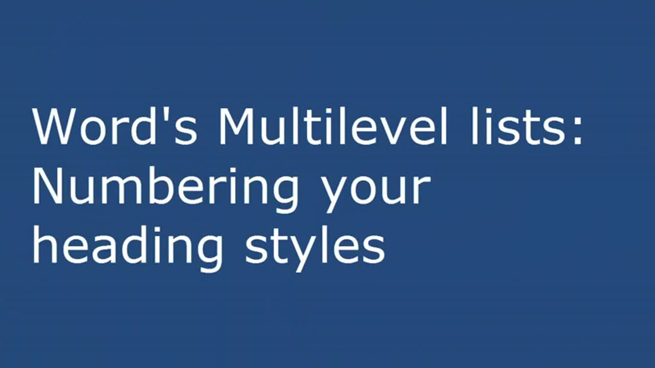 Words Multilevel Lists Numbering Your Heading Styles