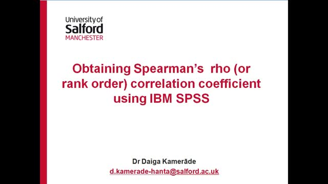 Obtaining Spearman's correlation coefficient using IBM SPSS