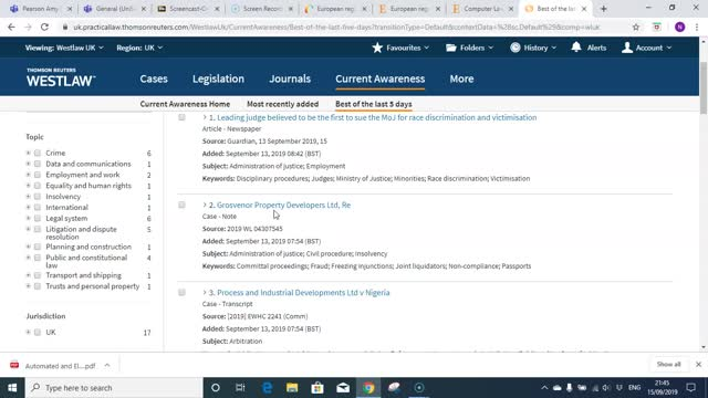 Staying up to date using Westlaw UK