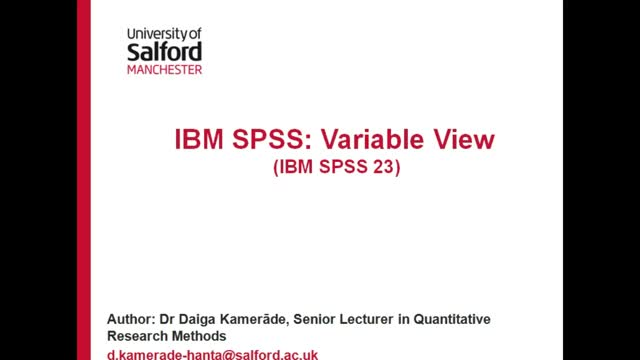 IBM SPSS: Variable View