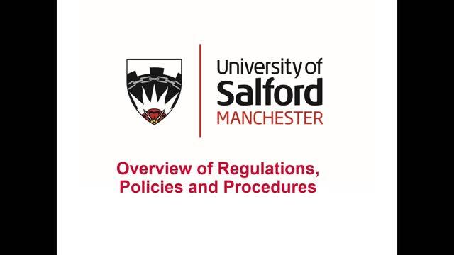 Overview of Regulations, Policies and Procedures