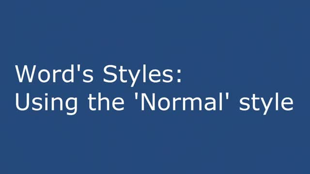 Word's Styles: Using the 'Normal' style