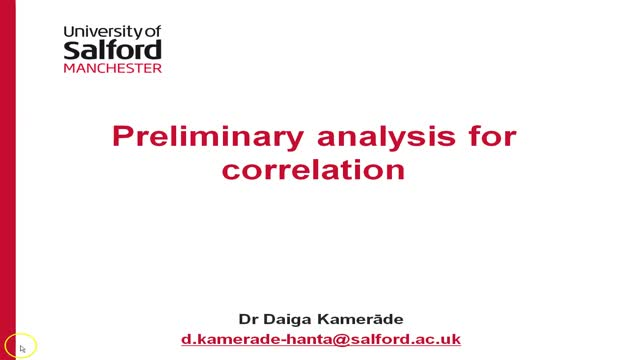 Preliminary analysis for correlations