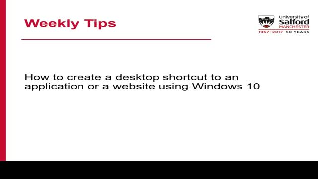 Weekly tips creating shortcuts on desktop