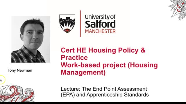 Lecture: The End Point Assessment and Apprenticeship Standards